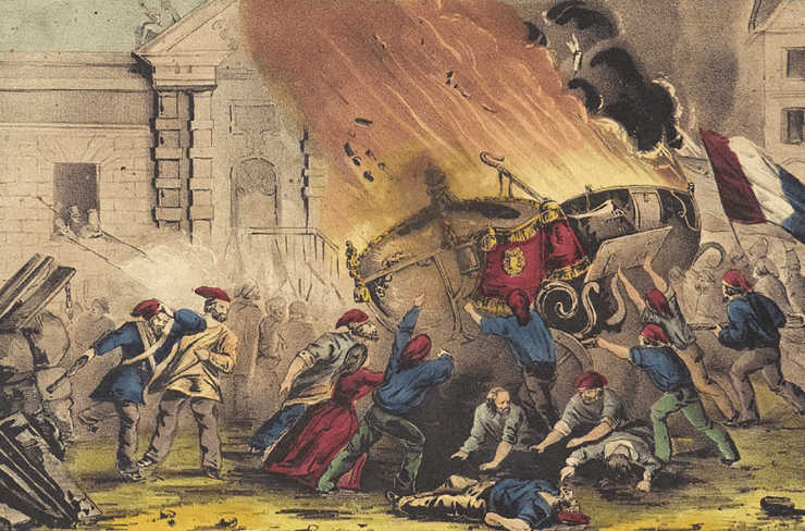 The_burning_of_the_royal_carriage_during_the_French_revolution_of_1848